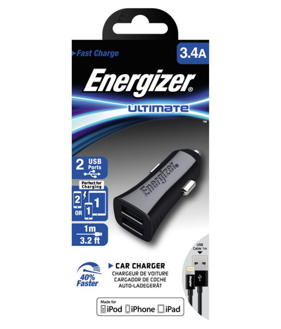 Energizer 3.4 Amp Turbo Car Charger  (Black)