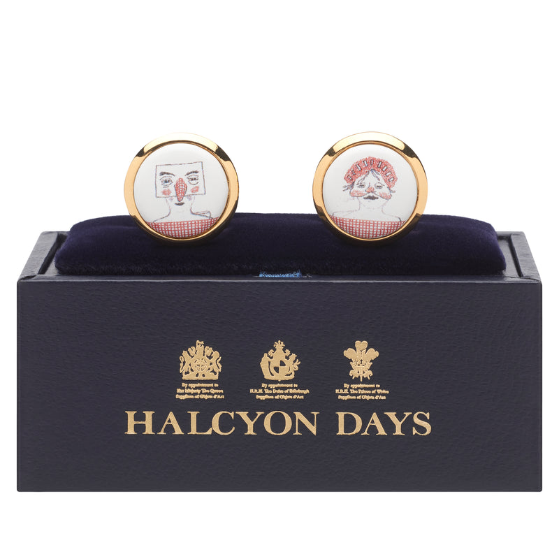 Bedlam round cufflinks by David Hockney