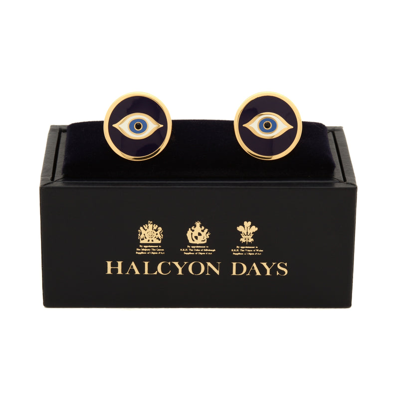 Evil Eye Navy & Gold Cufflinks