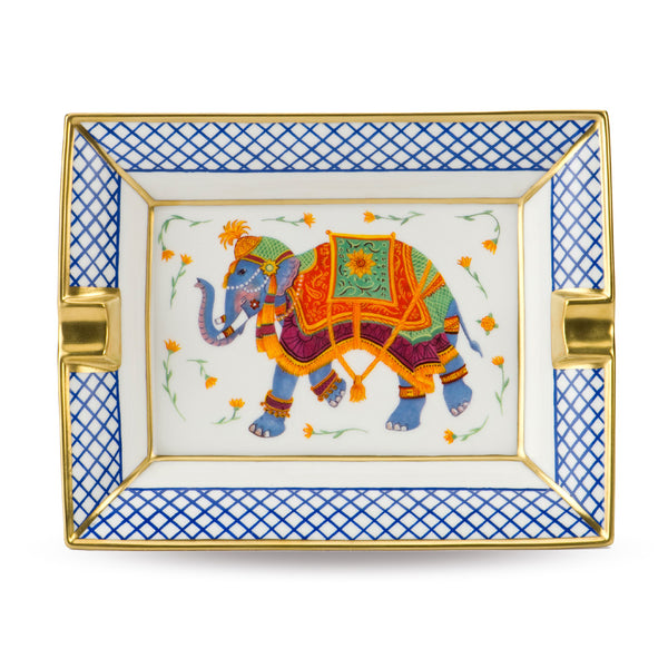 Indian Elephant White Ashtray