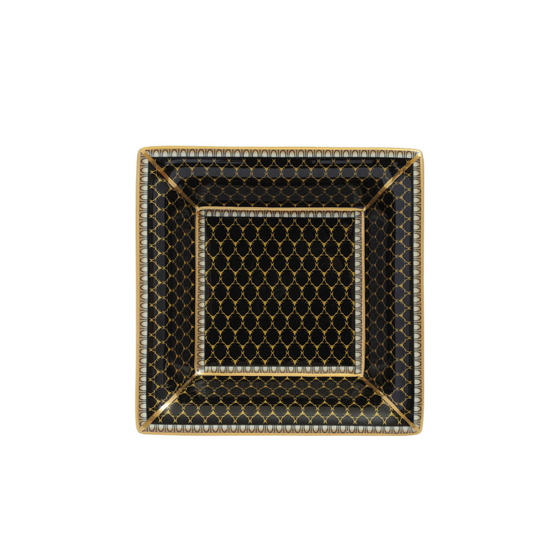 Antler Trellis Square Trinket Tray Black