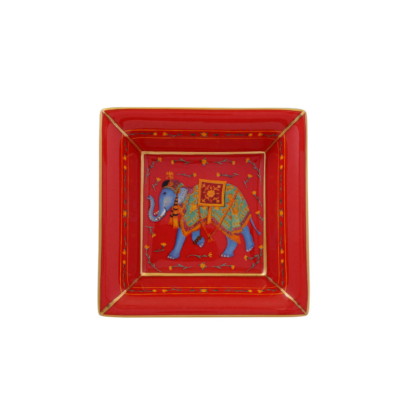 Ceremonial Indian Elephant Square Trinket Tray Red