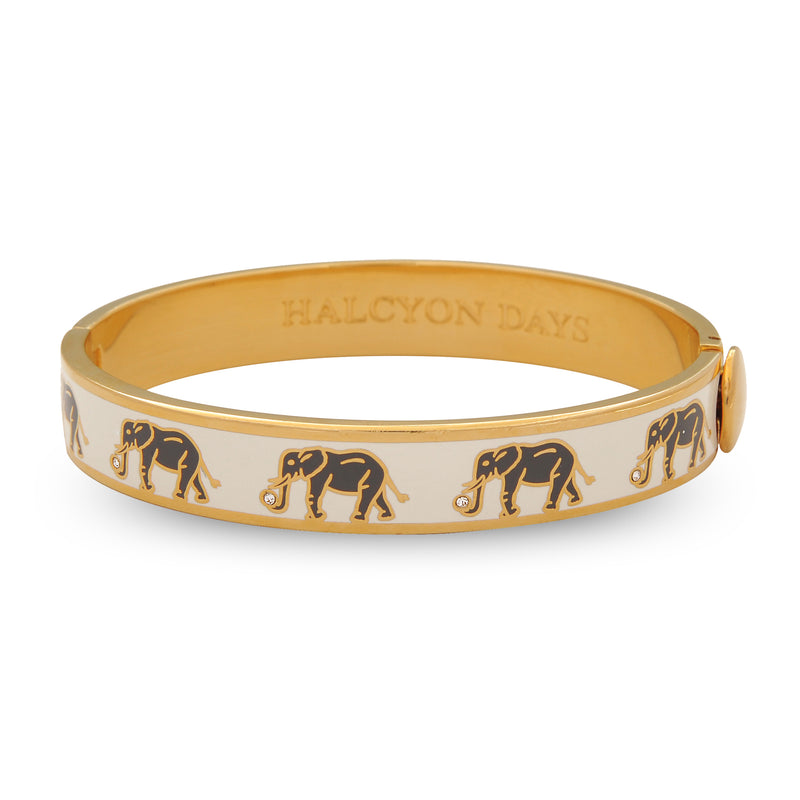 Elephant Motif Cream & Gold Bangle