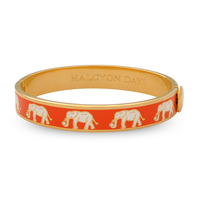 Elephant Motif Orange & Gold Bangle