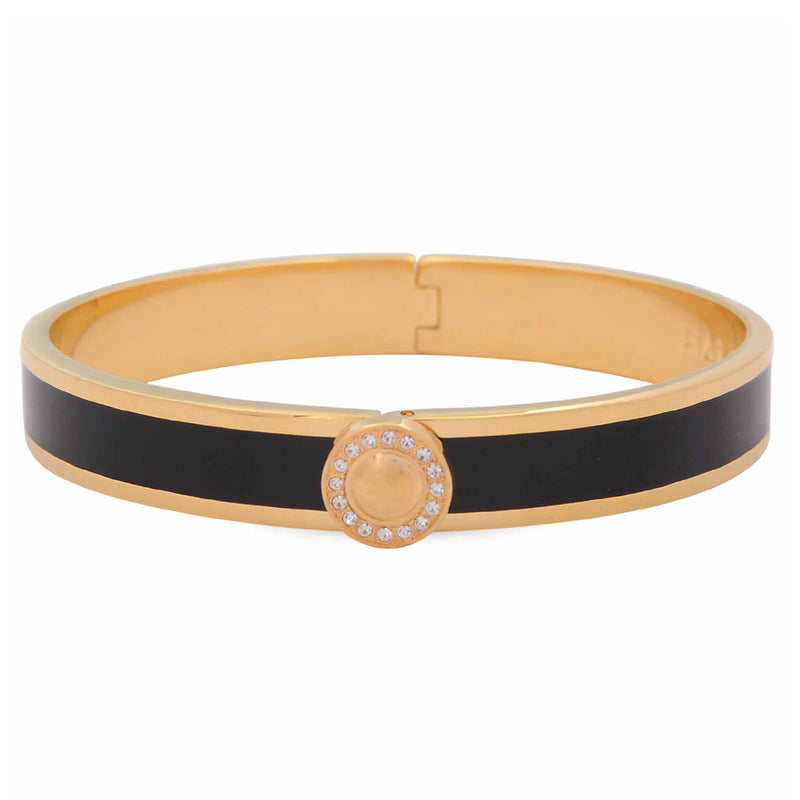 Sparkle Button Black & Gold Bangle