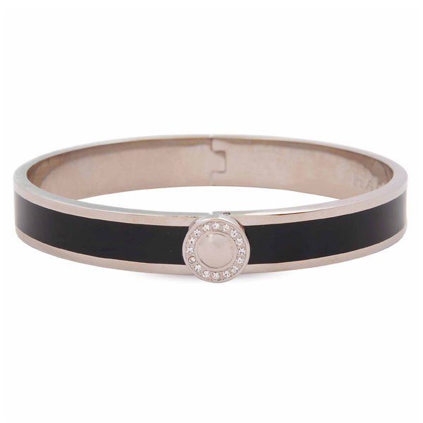 Sparkle Button Black & Palladium Bangle