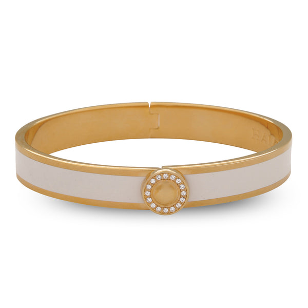 Sparkle Button Cream & Gold Bangle