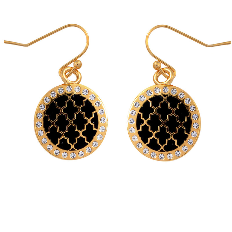 Agama Sparkle Black & Gold Earrings