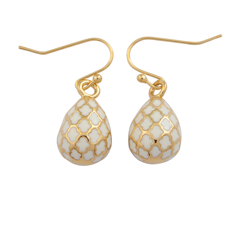 Agama Egg Cream & Gold Earrings