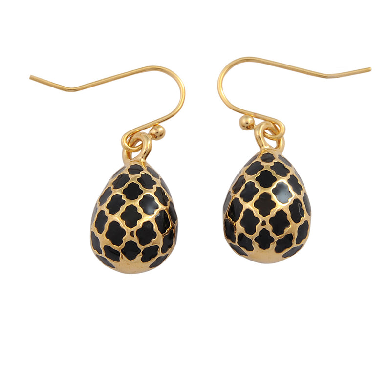 Agama Egg Black & Gold Earrings