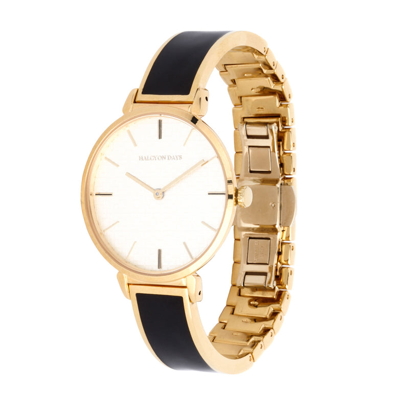 Maya Plain Black & Gold Watch