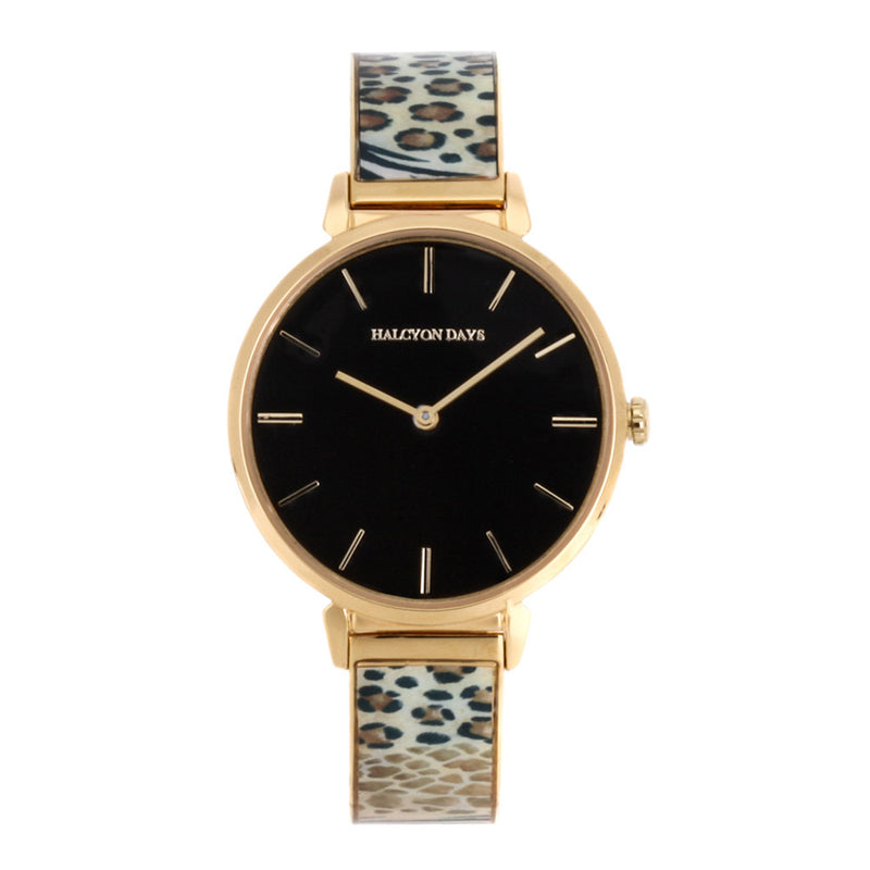 Animal Print, Black Face Bangle Watch