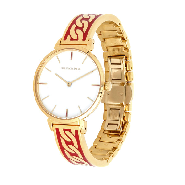 Curb Chain Red & Gold Watch