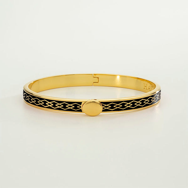 Skinny Parterre Chain Black & Gold Bangle