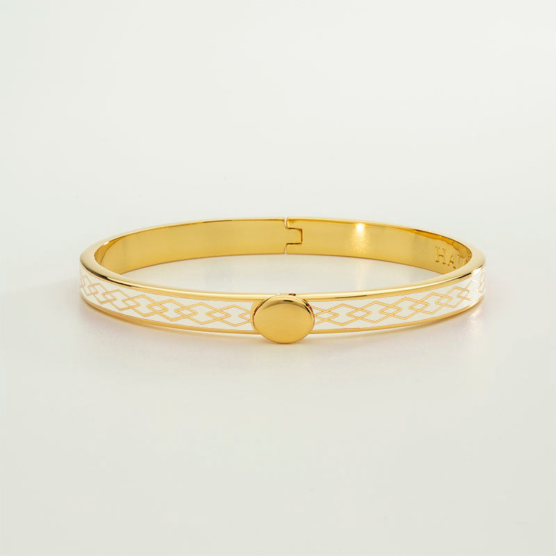 Skinny Parterre Chain Cream & Gold Bangle