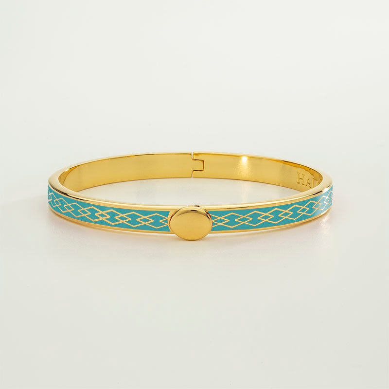 Skinny Parterre Chain Turquoise & Gold Bangle
