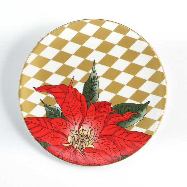 "Parterre Gold with Poinsettia 8"" Coupe Plate"