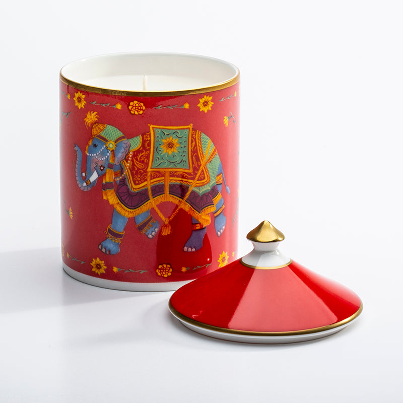 Ceremonial Indian Elephant Red Lidded Candle