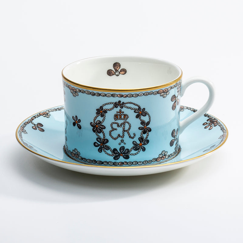 Shells Blue Teacup & Saucer