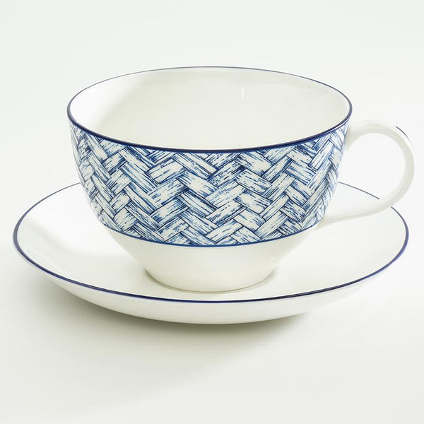 Nina Campbell Serengeti Basket Weave Breakfast Cup & Saucer