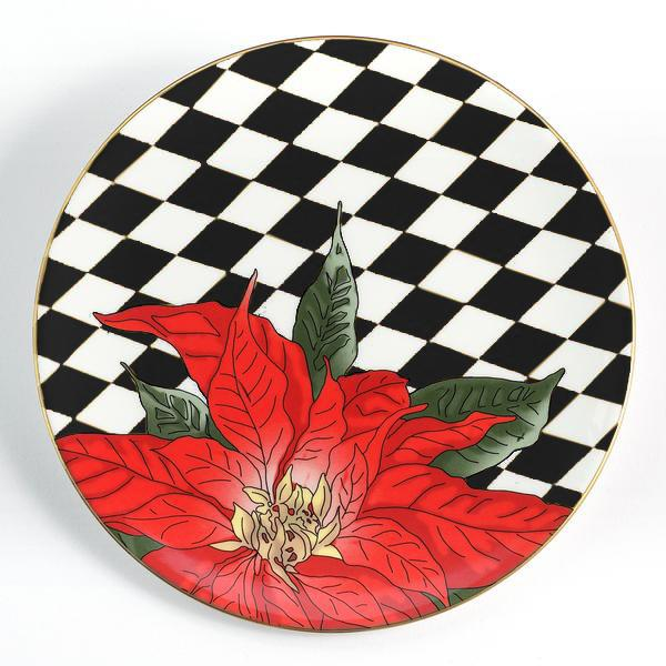 "Parterre Black with Poinsettia 8"" Coupe Plate"