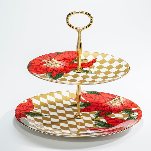 Parterre Gold with Poinsettia 2 Tier Coupe Plate Stand