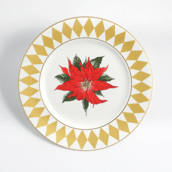 "Parterre Gold with Poinsettia 6"" Plate"