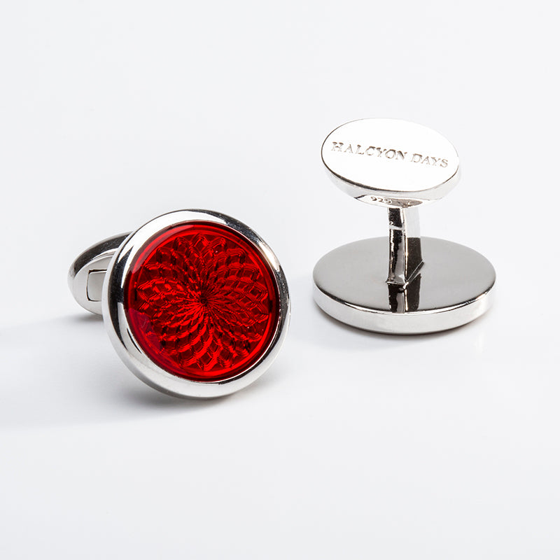 Agama Engine Turned Cufflinks Ruby Red
