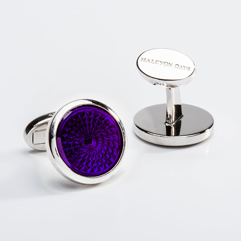 Agama Engine Turned Cufflinks Amethyst