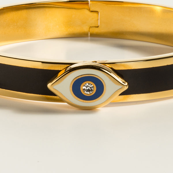 Evil Eye Sparkle Button Midnight & Gold Bangle