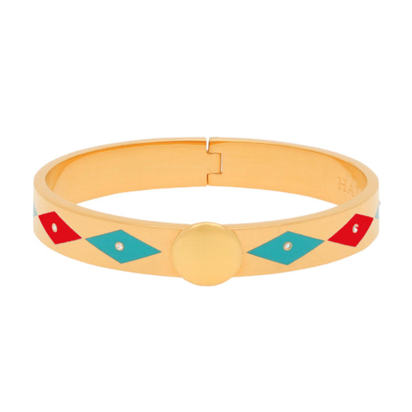 Sparkle Red  Turquoise Gold Bangle