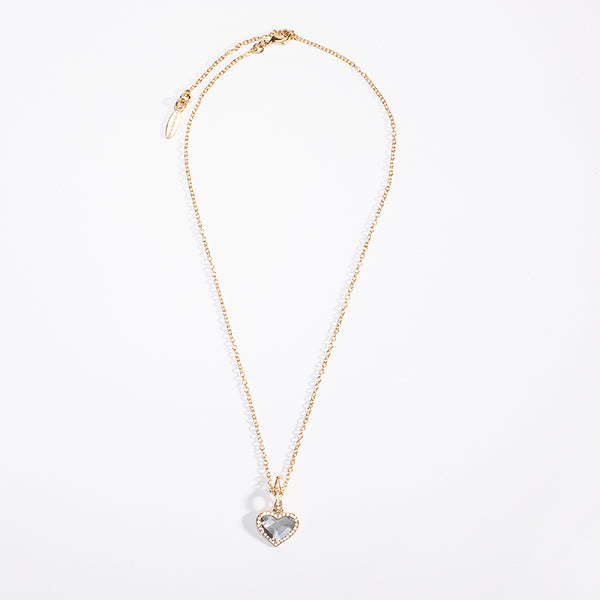 Facet Heart White Diamond & Gold Pendant