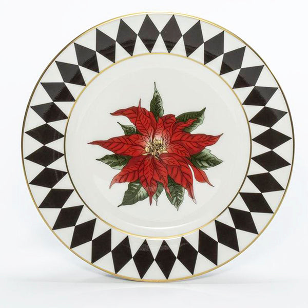 "Parterre Black with Poinsettia 6"" Rim Plate"