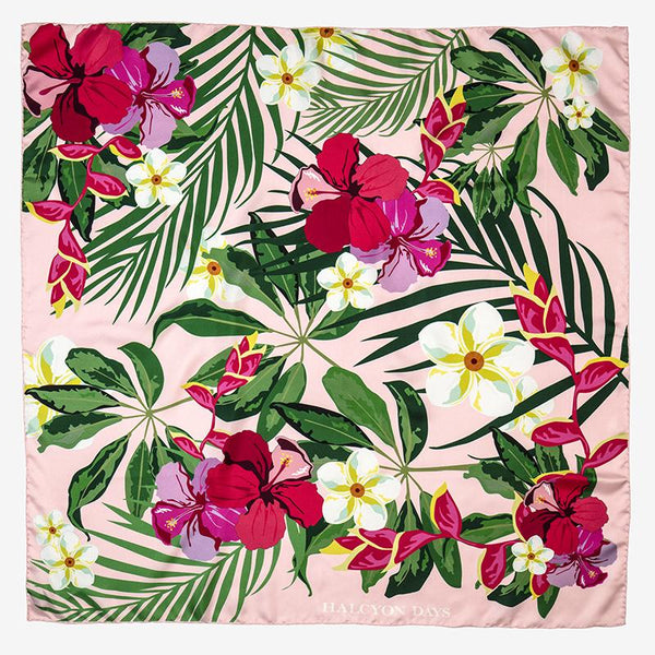 Tropical Flowers Pink Silk Scarf