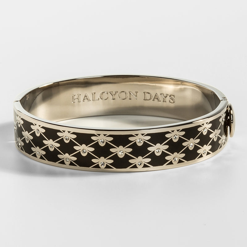 Bee Sparkle Trellis Black & Palladium Bangle