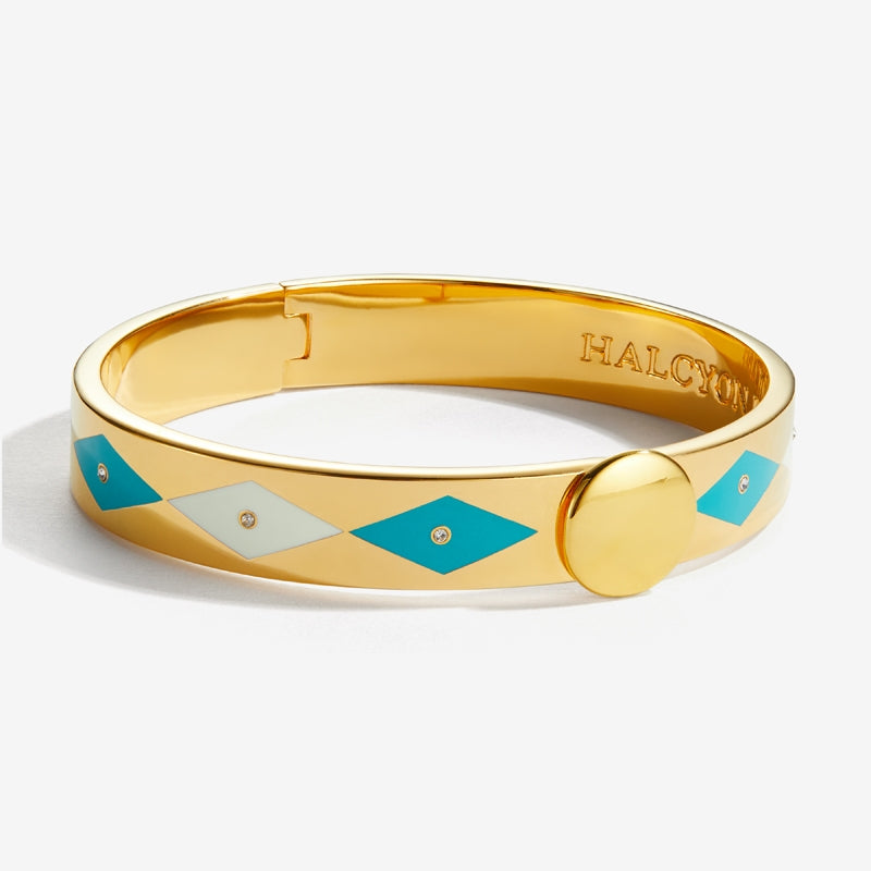 Sparkle Turquoise Cream & Gold Bangle