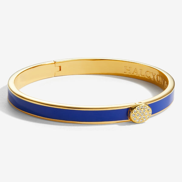 Skinny Pave Button Deep Cobalt & Gold Bangle