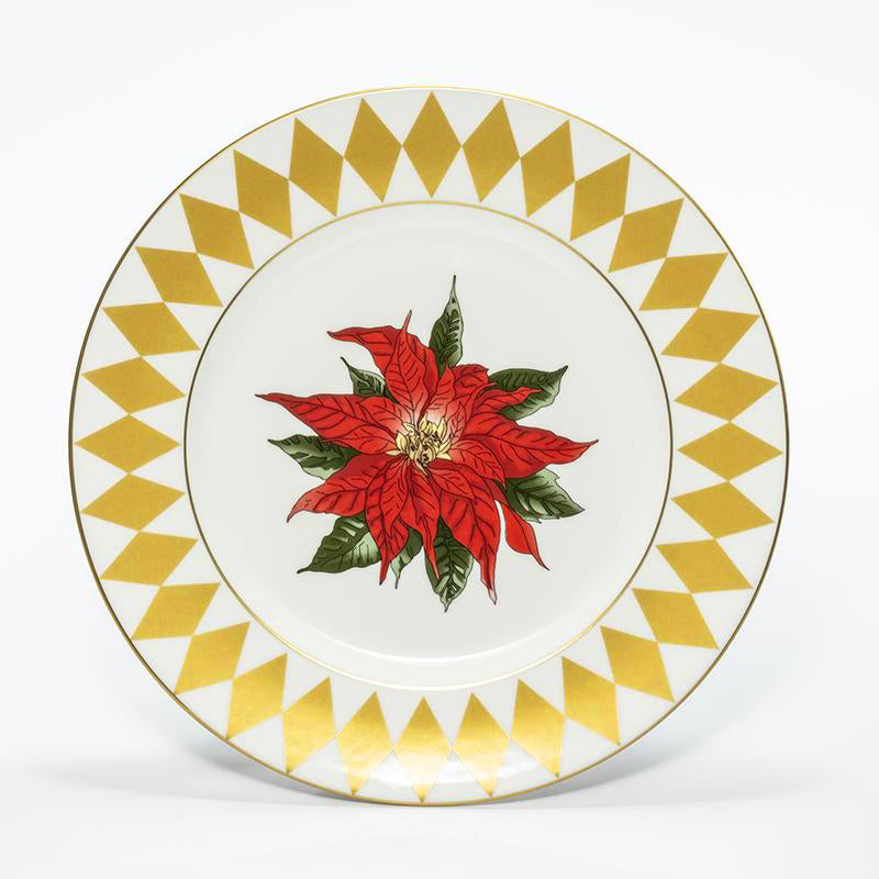 "Parterre Gold with Poinsettia 8"" Plate"