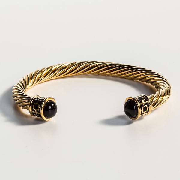 Maya Torque Black & Gold Bangle
