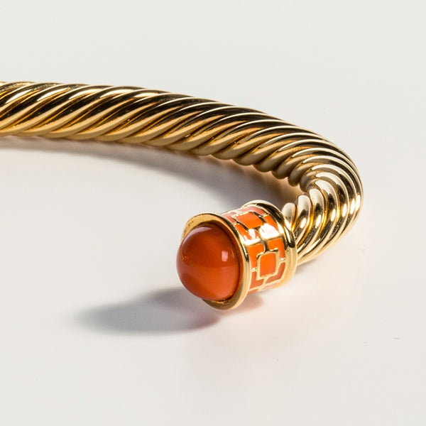 Maya Torque Orange & Gold Bangle