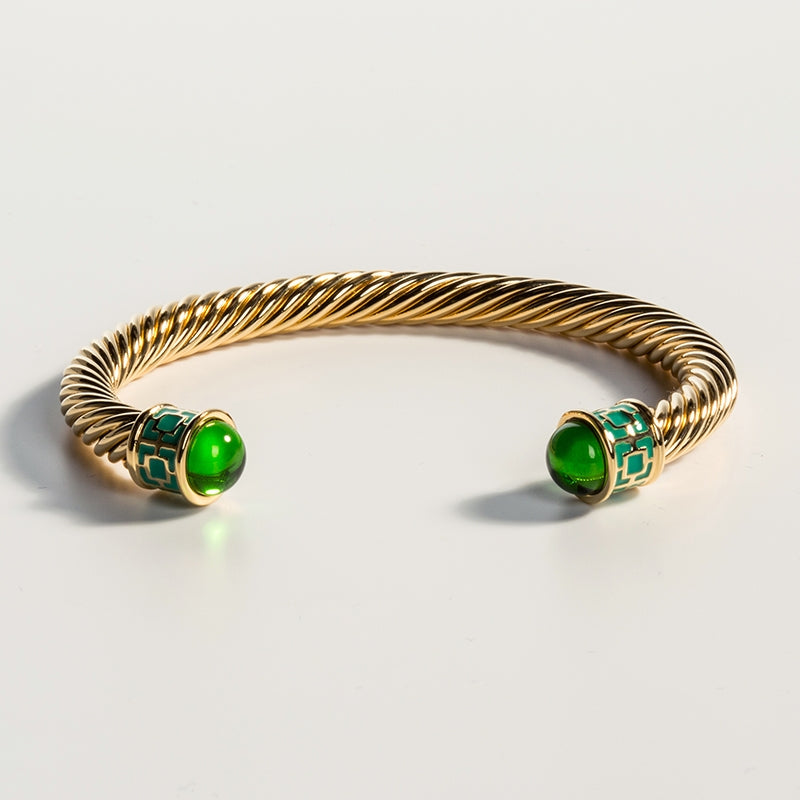 Maya Torque Emerald & Gold Bangle