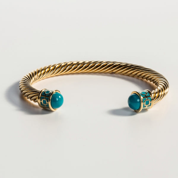 Maya Torque Turquoise & Gold Bangle