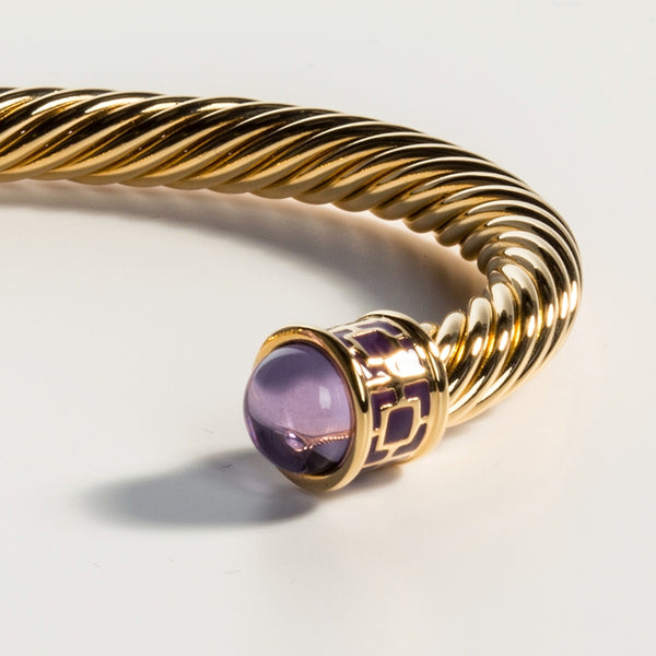 Maya Torque Amethyst & Gold Bangle