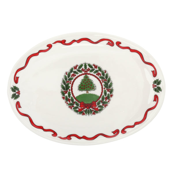 Vintage Christmas Tree Candy Plate White