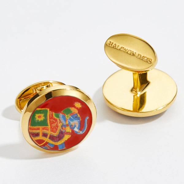 Ceremonial Indian Elephant Red & Gold Cufflinks