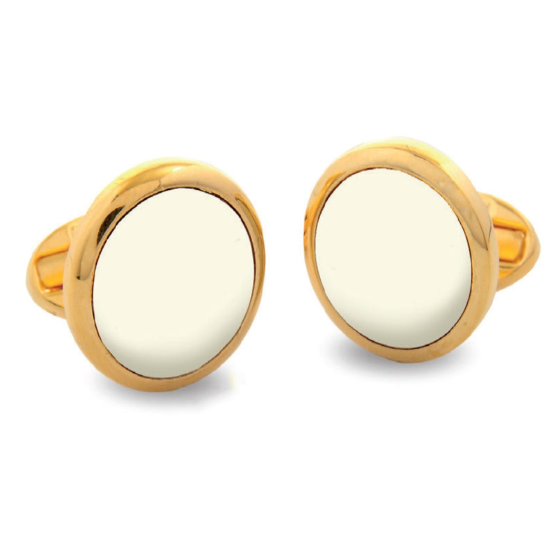 Personalised Monogram Round Gold Cufflinks