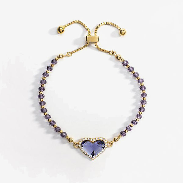 Heart Pave Blue Topaz Gold Beaded Friendship Bangle