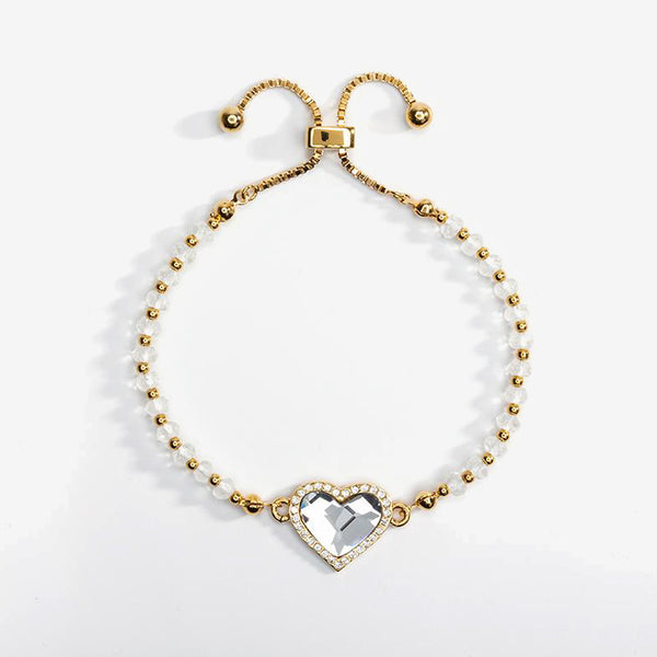 Heart Pave Diamond White Gold Beaded Friendship Bangle