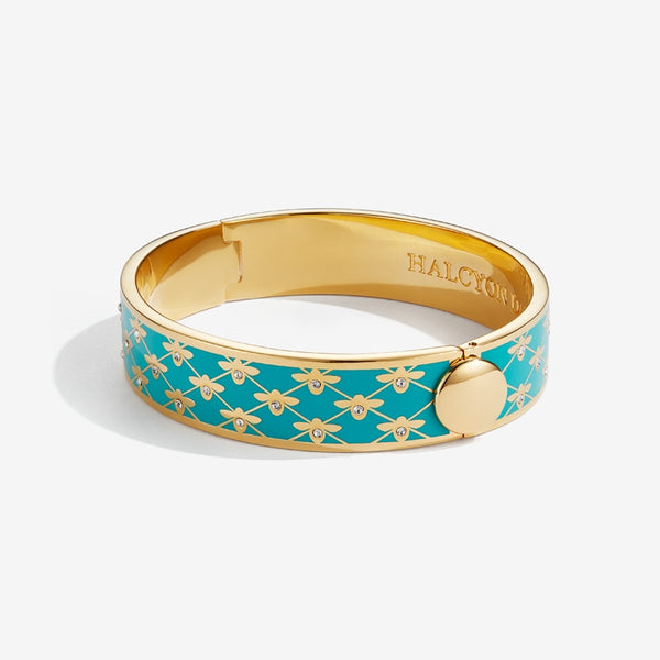 Bee Sparkle Trellis Turquoise & Gold Bangle