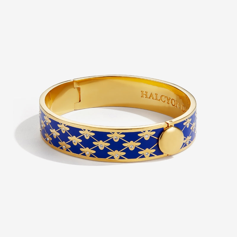 Bee Sparkle Trellis Deep Cobalt & Gold Bangle